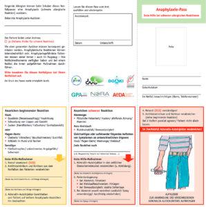 Abbildung Anaphylaxie-Notfall-Pass, erste Hilfe bei schweren allergischen Reaktionen